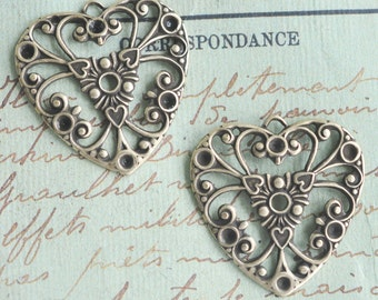 Two Neo Victorian Brass Filigree Heart Charms, Brass ox
