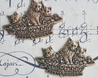 TWO Neo Victorian Brass Kitten Baskets charms with FOUR HOLES, Brass ox