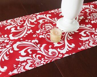 Christmas Table Runner - Red Table Runner - Red and White Table Runner -Red and White Damask Table Runner