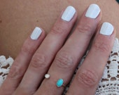 Opal and Turquoise silver ring, turquoise ring, Opal ring - stacking ring, knuckle ring