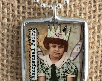 Silver Soldered Pendant - The Menopausal Fairy Reversible Collage Art Glass Charm Necklace