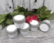 White Shabby Chic Mason Canister Jars with Lids, Five Small Quilted Mason Jars for Storage, Wedding Favor Jars, Home Decor