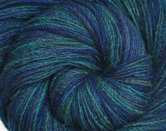 Handspun yarn - Blue Hand dyed Romney cross wool - OCEAN DEPTHS - Fine Sport weight, 490 yards