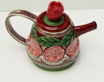 rose teapot; ceramic teapot; hand built pottery