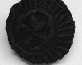 Vintage Black Buttons Hand Crochet Buttons Handmade 7 matching buttons