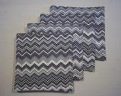 Gray Cheverons Coasters Set of Four/Reversable