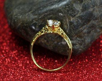 White Sapphire Engagement Ring Rhemba Antique Filigree 1ct 6mm Custom Size White-Yellow-Rose Gold-10k-14k-18k-Platinum