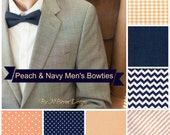 Men's peach and navy bowties - gingham plaid chevron pin dots linen stripes peach wedding bow tie groomsmen ring bearer mens bow tie groom