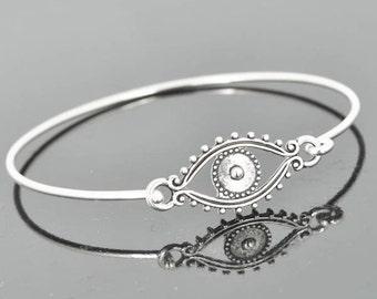 Evil Eye Bangle, Sterling Silver Bangle, Evil Eye Bracelet, Stackable Bangle, Charm, Bridesmaid Bangle, Bridesmaid jewelry, Bridal Bracelet