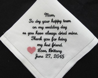 Embroidered Personalized Mother of the Bride  Wedding Handkerchief 100% Linen
