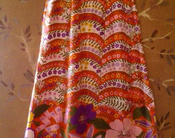 70s psychedelic flower power maxi skirt by Nelly de Grab NY