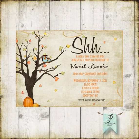 Autumn Baby Boy Or Girl Shower Invitation   Fall Baby   Pumpkins and Owls   DIY Printable File