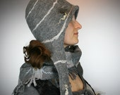 Felted gray hooded hat - Designer merino wool hat for her - Felted hat with ear flaps - Gray ear flaps hat - Winter hat - Ready to ship