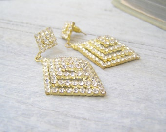 Vintage Retro Golden Diamond shape Rhinestone Dangle Stud Earrings, Bridal Glam Geometric Tiny Crystals Drop Earrings Mod Jewelry Woman gift