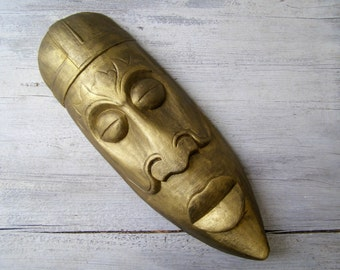 African Wood Mask, Primitive Wall Figurine, Big Tribal Totem Face, Carved Wooden Man Face, Metallic Gold Mask Silent Man Statue Wall Hanging
