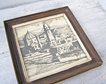 Black Ink Lithograph Picture, Old Church Framed Print, 70s Lithograph Print, Rustic Home Office Wall Decor, Vintage Collectible Art
