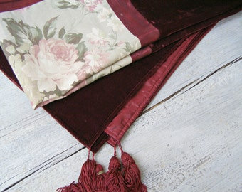 Vintage Square Velvet Tablecloth, Patchwork Chest Cover, Burgundy Tassel Tablecloth, Floral Fabric Table Cloth, Cottage Table Rose Linen