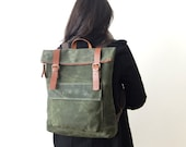 """Waxed Canvas Backpack in Olive Green - Adjustable Cotton Straps - Brown Zipper - Leather Accessories - 15"""" Laptop - Waterproof Bag"""