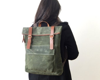 "Waxed Canvas Backpack in Olive Green - Father Days Gift - Brown Zipper - Leather Accessories - 15"" Laptop - Waterproof Bag"