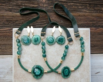 ONE Casual Emerald green Agate slice druzy Necklace  by pardes israel