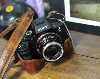 sony A7 mark II a7II leather case , Vintage brown half case + strap