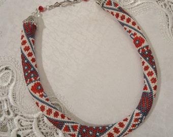Free Shipping!!! Handmade Necklace, Crochet With Beads. Ukrainian