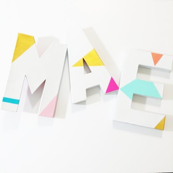 Wall Decor Block Letters : Items similar to wall letters block decor