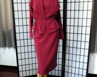 Vintage 70s suit dress, Magenta, Japanese Atelier REDUCED