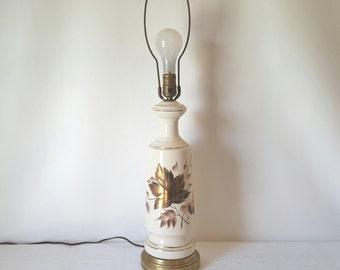 Vintage Desk Lamp Home Decor Handpainted Gold Bronze Lamp Ceramic Desk Lamp Autumn Leaves Hall Living Room Lamp Mid Century