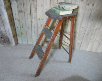 Antique Wooden Step Stool ladder with Rubber Treads