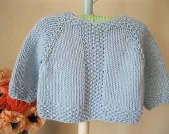 Handmade Baby Sweater..........baby blue seed stitch pullover