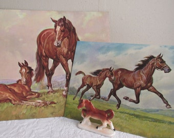 Two Vintage Horse Lithographs Mare And Foal Prints Retro