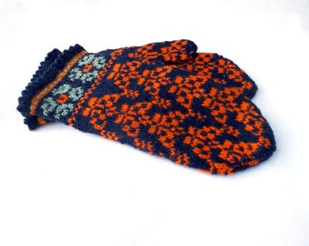Hand knitted wool Latvian mittens, wool winter gloves, knit colorful black orange mitts, womens arm warmers, patterned nordic ethnic mittens