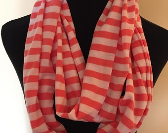 New White and Peach Striped Long Stretch Knit Infinity Scarf