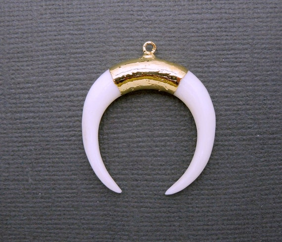 Crescent Horn Necklace: White Bone Crescent Double Horn Pendant With 24k Gold