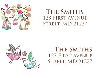 Baby Shower Mailing Address Labels Birds and Cages - Boy, Girl Gender Neutral