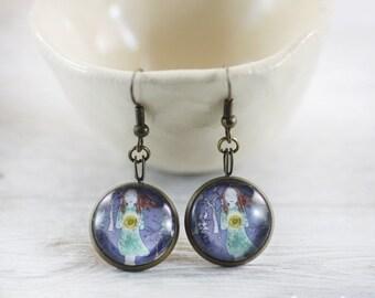 Sun Earrings - Earrings - Handmade Earrings - Blue Earrings - Gilr with Sun Earrings - Unique Earrings - Art Jewelry -  gifts for her (7-4E)