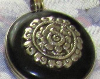 Tibetan Silver Jet Black Pendant