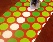 Select a Size  - Christmas Table Runner -  Red/Green/White Polka Dot - Holidays, Home Decor, Weddings and Parties