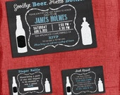 Printable Beer and Diaper Baby Shower Invitation Set -Invite + Diaper Raffle Ticket + Book Request  - Chalkboard Style - I design you print