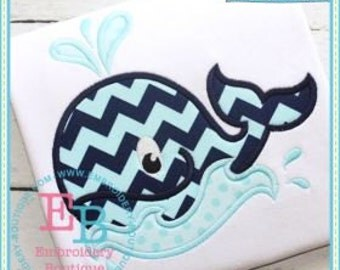 Whale T shirt - Summer Applique Design - =Boy's or Girl's shirt - Monogram included - Beach Shirt