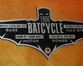 Custom 1966 BATCYCLE Specifications Data Plate BATMAN TV Series Batmobile