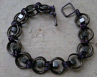 Multi-color Chain Mail and Stone Bracelets