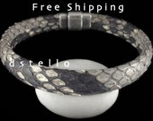 FREE SHIPPING - Men's genuine Python bracelet, Women's bracelet gift idea, Unisex Python cuff, Authentic Python jewelry, Magnetic clasp