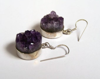 Natural Amethyst drusy sterling silver earrinds.  February birth stone. Valentine day gift.
