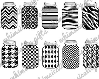 Digital File - Mason Jar Patterns with SVG, DXF, PNG Commercial & Personal Use
