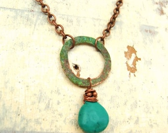 Circle Turquoise Necklace, Copper Wire Wrapped Genuine Turquoise Briolette & Rustic Verdigris Circle Pendant Necklace