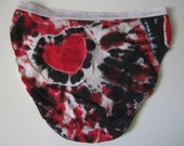 Tie-dyed Panties with Sassy Back Heart in Black, Red, and White, Women's Size 8