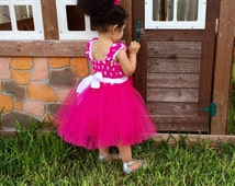 Baby Girl Minnie Mouse Clothing - Photo Prop, Kids Clothing, Baby, Toddler, Little Girls, Smash Cake, Pink Tutu Dress, Baby Tutu Dress