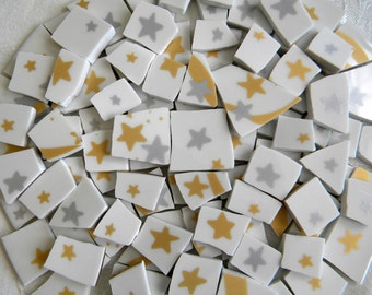 Gold and Silver STARS - Mosaic China Tiles - 100 Tiles